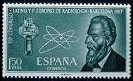 Sello conmemorativo de la celebración del 1er Congreso Europeo de Radiología (Barcelona, 1967)
