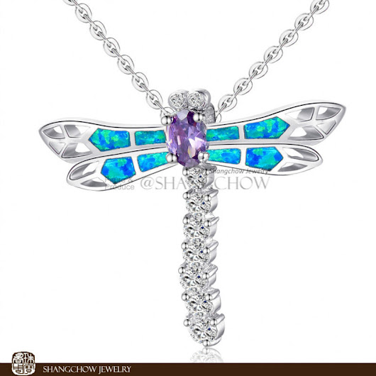 Dragonfly Blue Fire Opal 925 Sterling Silver Pendant