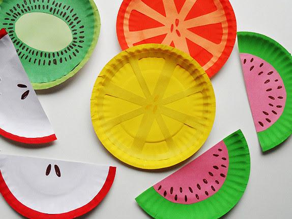 30. Бумажные тарелки в виде фруктов дети, поделки, своими руками, сделай сам, творчество