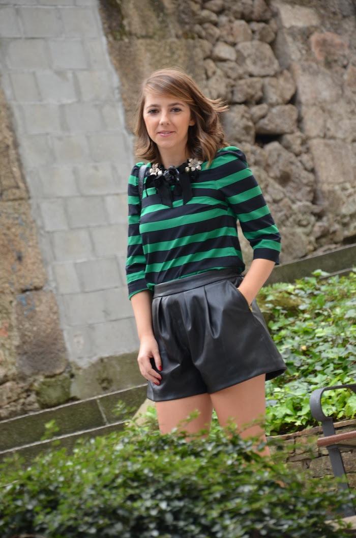 shorts polipiel zara