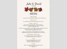 Fall Wedding Menu Cards Autumn Theme Wedding Menu Cards Fall Wedding Ideas Fall Leaves Autumn