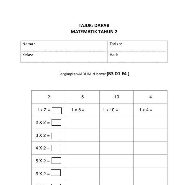 Soalan Matematik Darab Tahun 2 - Malacca s