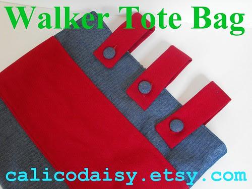 Denim Walker Tote Bag text