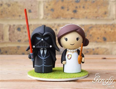 Darth Vader groom and Harry Potter bride wedding cake