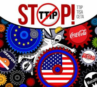 Europe is protesting TTIP with a huge bipartisan base while Americans do nothing
