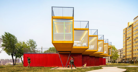 Shipping containers are transformed into a colorful office and showroom in China