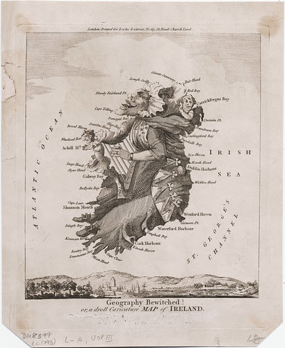 Geography Bewitched or a droll caricature map of Ireland, 1793 (Dighton)