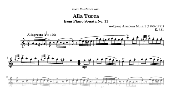 Turkish Rondo From Piano Sonata No 11 W A Mozart Free Flute Sheet Music Flutetunes Com