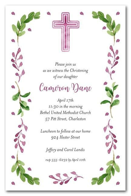 Pink Cross, Leaves & Buds Baptism or Christening Invitations
