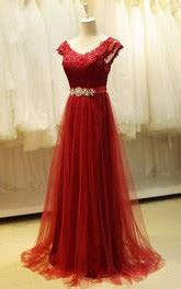 demure cap sleeve jewel neck long lace dress  sash