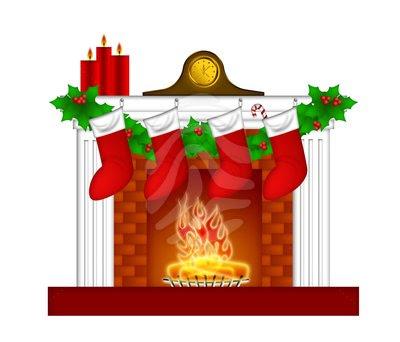 Cartoon Fireplace Clipart Christmas