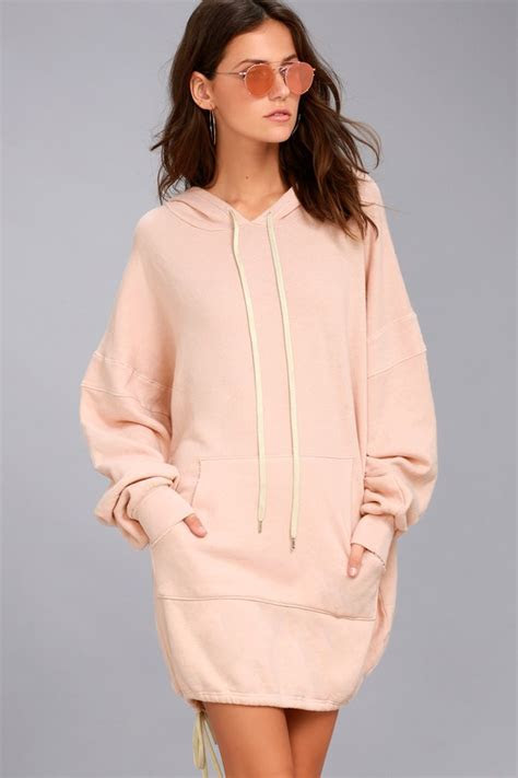 Project Social T Luca   Light Pink Hooded Sweatshirt Dress