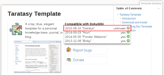 "Compatibility of DokuWiki ""Detritus"" and the Taratasy Template - bityard Blog"