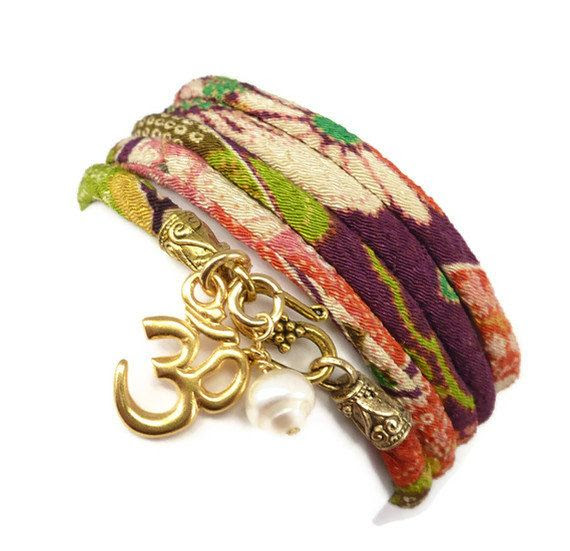 Wrap Bracelet with Gold Om charm yoga