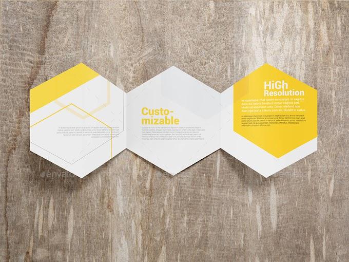 Rising Stars Print Mockups - Hexagon Trifold Brochure Mockups