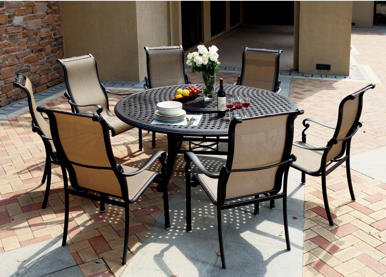 "Patio Furniture Aluminum/Sling Dining Set 71"" Round Table ..."