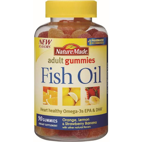 Nature Made Fish Oil Omega-3 Adult Gummies, Orange, Lemon & Strawberry - 90 count