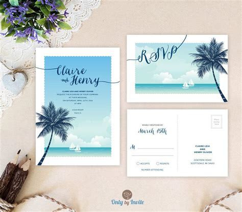 Destination Wedding Invitations With RSVP Printed #2524048