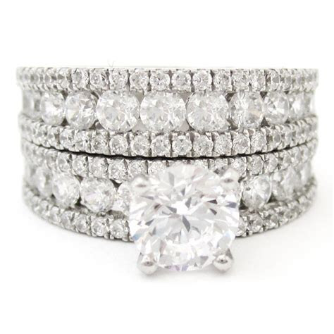 ctw  cut triple row diamond engagement ring