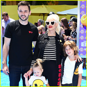 Christina Aguilera's Kids Wear Their Emojis to 'Emoji Movie' Premiere!