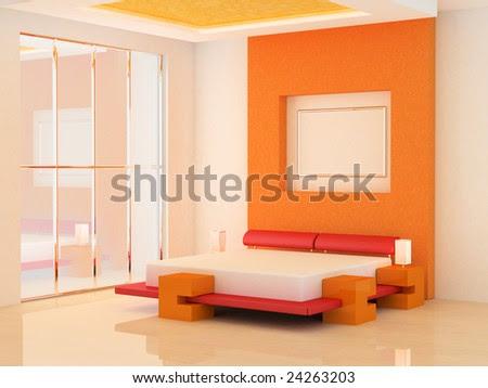 Modern Scene Of Bedroom Interior 3d Stock Photo 2426320