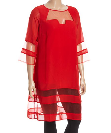 Red Sheer Stripe Shift Tunic - Plus