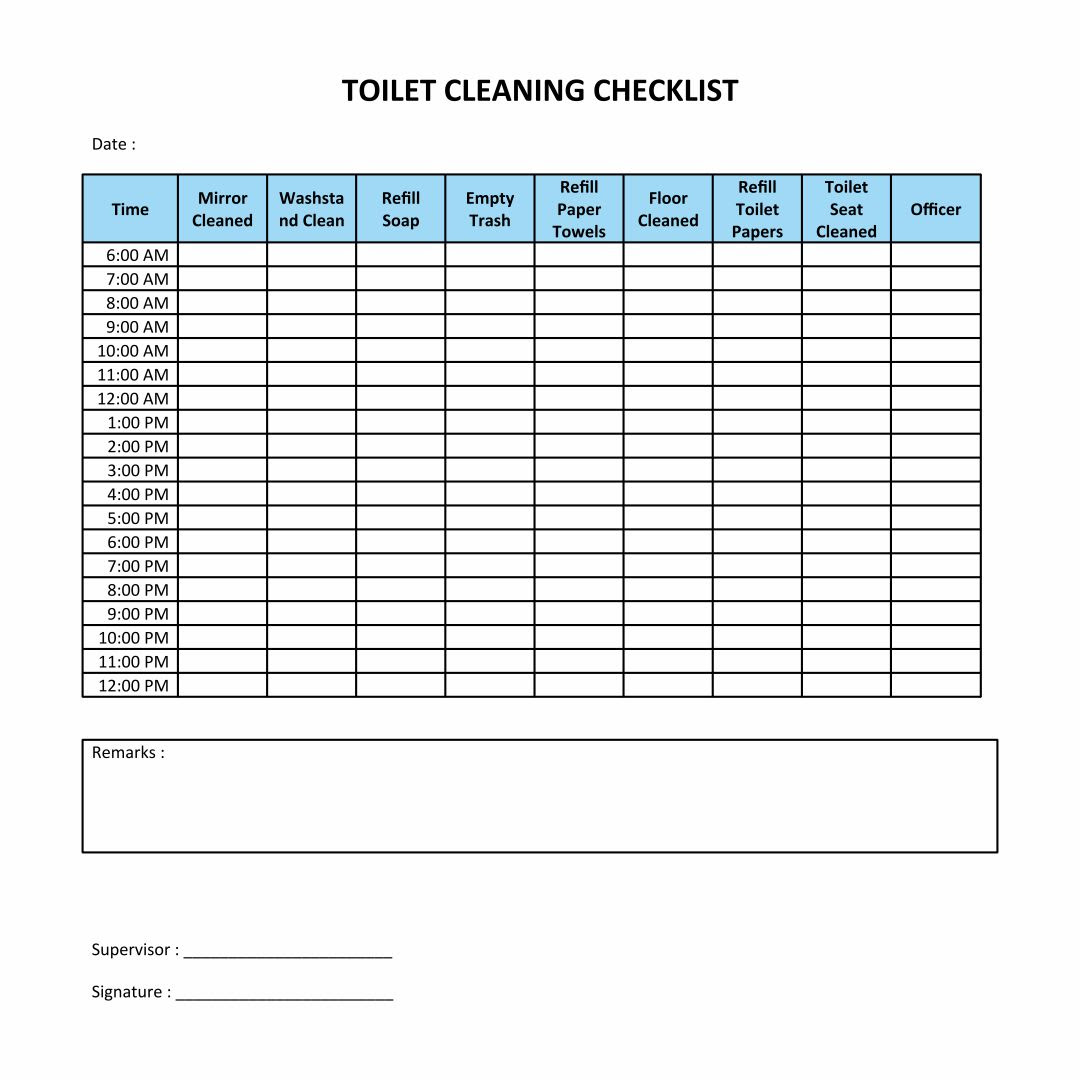 Daily Bathroom Cleaning Checklist – Daily Planner