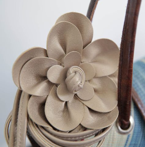 Champagne leather flower belt with string tie