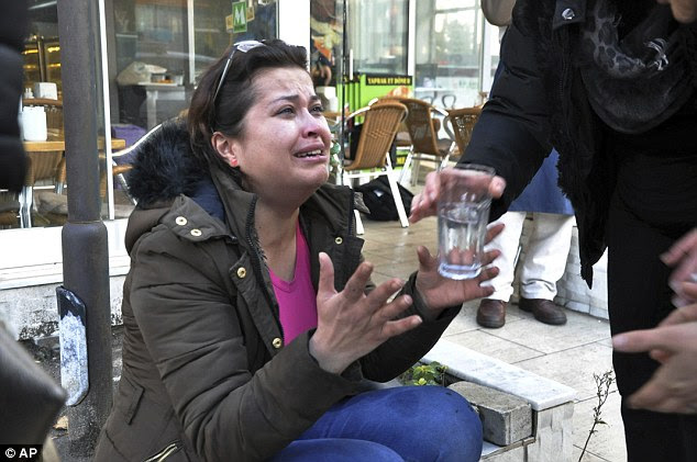 A shocked woman could be seen crying near the scene of the explosion in the Aegean city