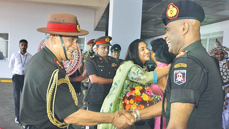 Indian Army Chief of the Army Staff, General Bipin Rawat who arrived here yesterday afternoon being welcomed by Army Commander Lt. General Mahesh Senanayake.