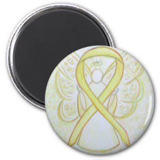 Yellow Awareness Ribbon Angel Art Magnets