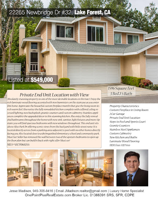 Nicely Upgraded Lake Forest Condo | Asking $549,000 | OC Discount Broker | List for 1%