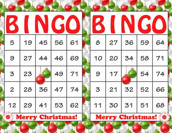 free printable christmas bingo cards template