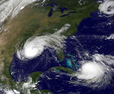 This August 31, 2008 NOAA GOES 12 satellite image shows Hurricane Gustav (L). Over a million people in New Orleans were evacuated ahead of the giant storm, which made landfall on the U.S. Gulf Coast on September 1. At right is Tropical Storm-turned-Hurricane Hanna.