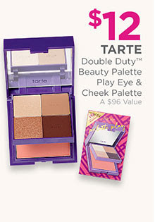 Tarte Double Duty Beauty Play Eye & Cheek Palette is now $12, a $96 value.