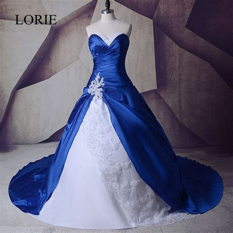 Vintage Royal Blue And White Wedding Gowns Dresses 2017