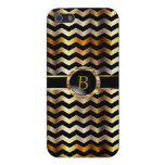 Gold Metallic Chevron | Monogram iPhone 5/5S Cases