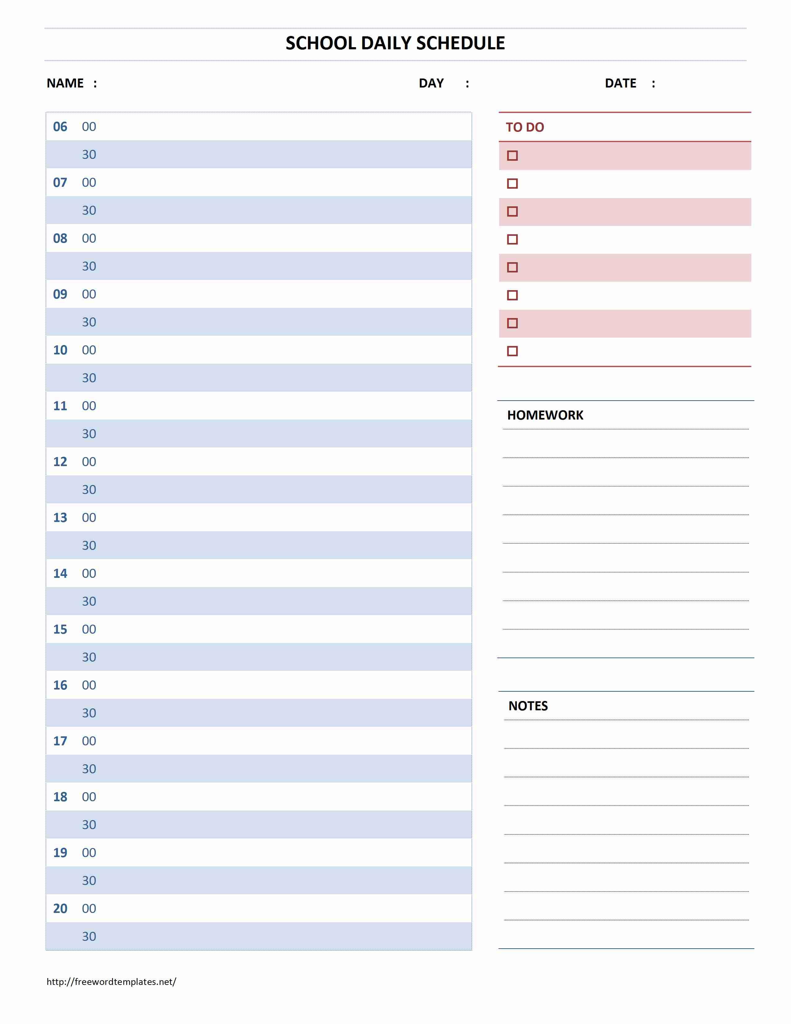 School Daily Schedule | Freewordtemplates.net