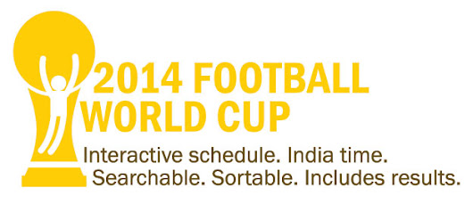 2014 Football World Cup schedule: IST time, interactive, embeddable; includes results