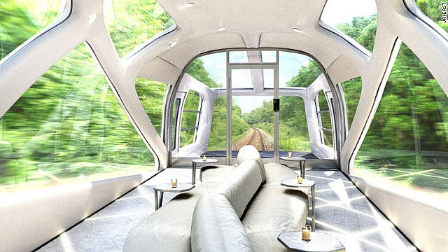 Observation carriages are located in the front and the back of the super-luxury train.