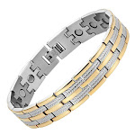 Men's Powerful Magnetic Therapy Bracelet Silver / Gold Wheat Chain