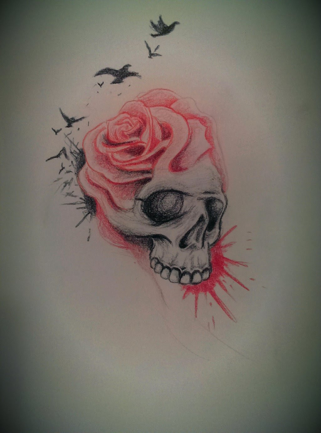 Skull And Rose Drawing At Getdrawingscom Free For Personal Use