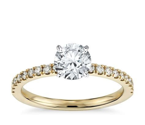 Petite Pavé Diamond Engagement Ring in 18k Yellow Gold (1