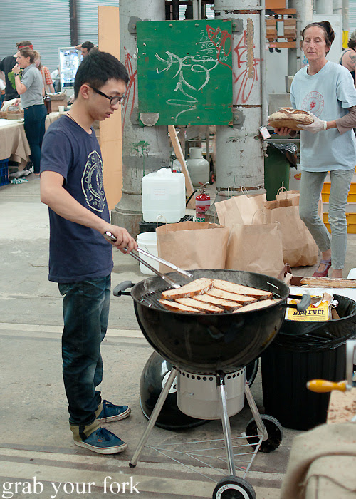 Chargrilling Iggy's Bread at the Sunday Marketplace, Rootstock Sydney 2014
