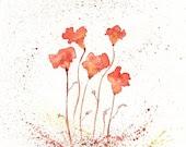 Orange Fields of Love/ Orange, burnt orange, yellow, and brown, Flowers Watercolor Print - kellybermudez