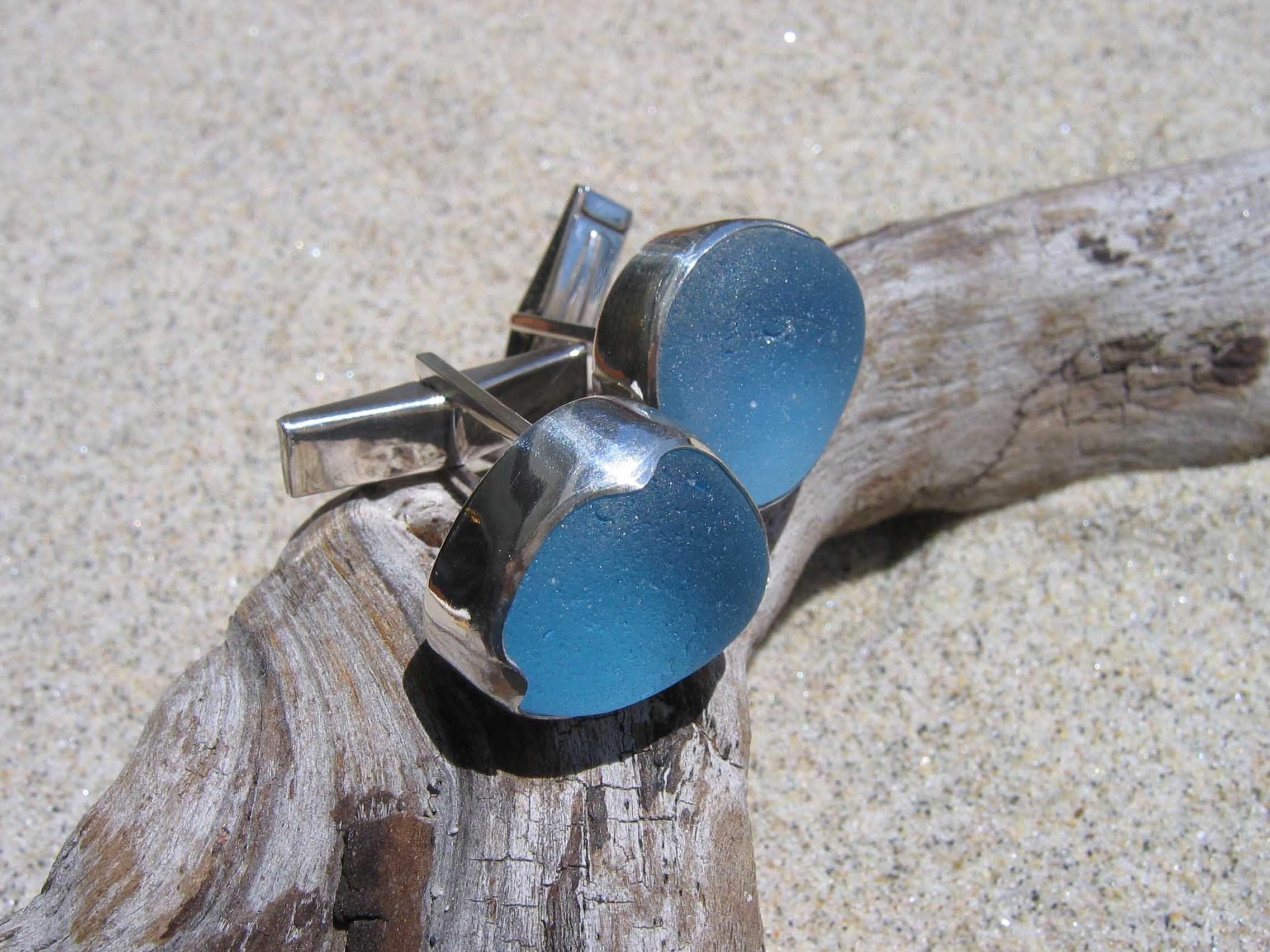 Genuine English Sea Glass Cufflinks in Cornflower Blue
