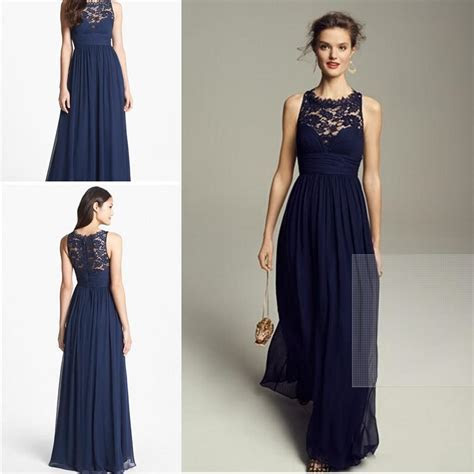 Dark Navy Blue Bridesmaid Dresses 2017 Cheap Long Chiffon