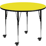 Mobile 48'' Round HP Laminate Activity Table - Standard Height Adjustable Legs Yellow