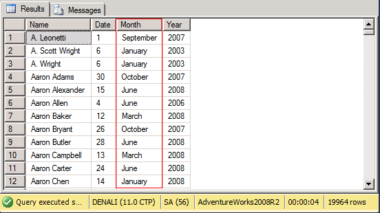 sql server result set using the choose function in denali