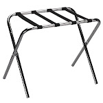 Household Essentials 2125-1 Luggage Rack-KD-Chrome with Black Straps
